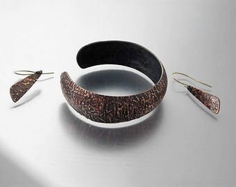 Hammered and Formed Copper Cuff Bracelet and Earring Set