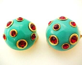 Kenneth J Lane Turquoise Blue Enamel Earrings Red Rhinestone clips vintage button