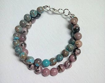 Blue Lace Agate and Rhodonite Layered Bracelet