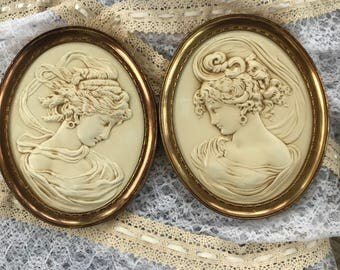 Vintage pair of cameo , Turner West Wind, Turner East Wind. Greek, Roman style, Victorian French decor.