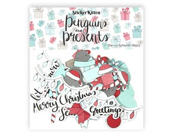 Penguins and Presents Die-Cut Ephemera - StickerKitten Penguin Christmas Toppers for Cardmaking, Crafting, Scrapbooking, Cute Craft Supplies