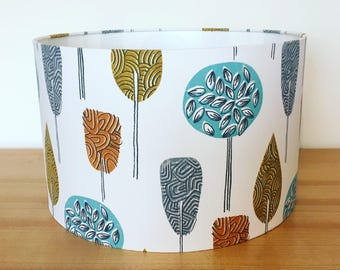 Handmade Fabric Lampshade, iliv Scandi trees, ochre, teal and grey
