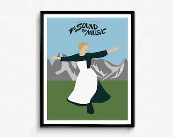 The Sound of Music Minimalist Movie Poster- Classic Film Print, Wall Art Decor
