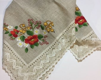 Portuguese Hand Embroidered Linen Tablecloth