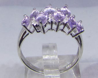 Sterling Silver ring with eight amethysts size 54