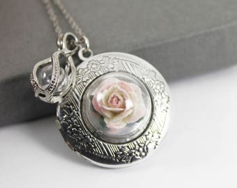 Mulberry Rose Photo Locket with Fillable Glass Orb, Memorial Jewellery, Urn Locket, Cremation Jewelry, Fillable Jewelry, Cremation Necklace