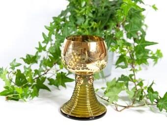 Vintage goblet / made in Germany / glass goblet / gold goblet / wine goblet / decorated goblet / ornate goblet / grapes vine goblet