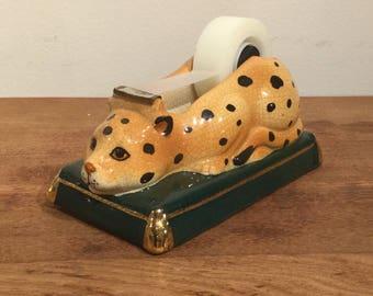 Rare Vintage Ceramic Leopard  Tape Dispenser by Takahashi / Animal Tape Dispenser