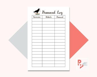 PASSWORD LOG Mini Happy Planner Printable Insert, Create 365, Happy Planner Inserts, Happy Planner Mini, MAMBI Planner, Instant Download
