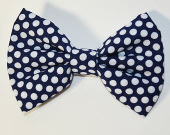 Fabric Bow - Navy Polka Dot Bow