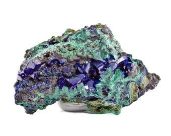 Azurite Gem Crystals with Malachite from Touissit, Morocco 04A