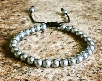 6mm Silver Plated Hematite Mala Beads beaded adjustable Energy Healing Bracelet mens ladies