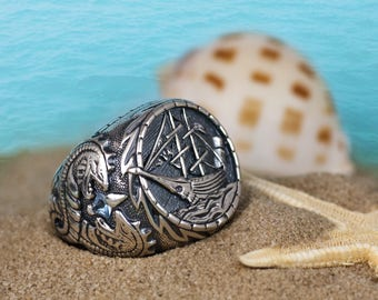 Men gothic PIRATE SCHOONER ring oxidized Sterling silver 925, Piraten Schoner, Goleta pirata