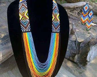 Beaded necklace with matching earrings, beaded necklaces,beaded jewerly, beaded, earrings beaded earrings