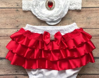 Valentines red and white baby bloomer - baby girl gift set - valentines headband - baby headband - baby bloomer - valentines  girl bloomer