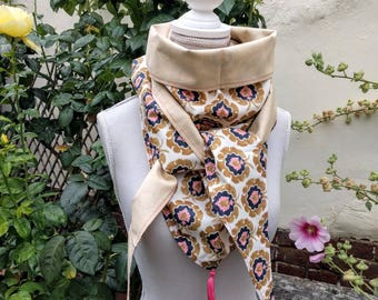 "Liberty cotton triangle scarf ""bosphorus"" and beige"