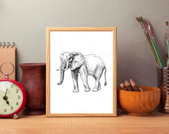 African Elephant, Animal. Wall Art, Printable Art, Decor, Instant Download,Digital File