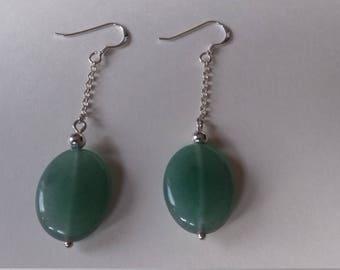 Green aventurine sterling silver earrings