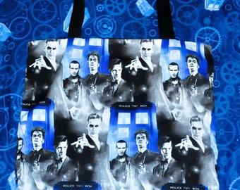 Nerditotes Handmade Handsewn 9th, 10th, 11th & 12th Doctor Who Tote Bag  Whovian Fandom Nerd Style Geek Chic Purse