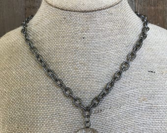 Gunmetal Crystal Necklace