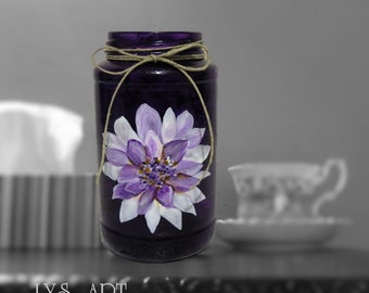 Purple Color Glass Vase Catananche Purple Flower