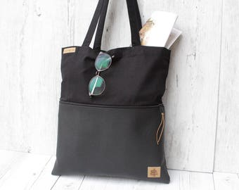 Tote bag *with zippper-bag // black