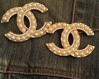 Chanel inspired pearl and rhinestone coco chanel fake chanel brooch pin. Gold or silver pearl brooch pin.