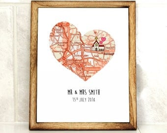 Personalised Wedding Print - Custom wedding print - Mr and Mrs - Engagement Gift - Heart Map print - Personalize Map - First Anniversary,