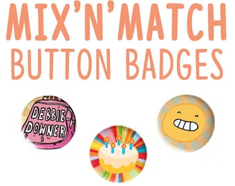 Button badges -  pinback button badge - accessorize - cute pin - emoji - gift for her - gift for him - cheap jewelry - mix and match
