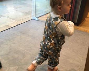 Organic animals romper - Organic baby romper - Organic baby clothes - baby dungarees - toddler dungarees
