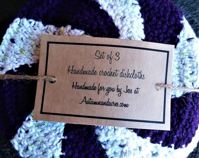 Set of 3 Purple Candy Cotton Crochet Shaker Dishcloths
