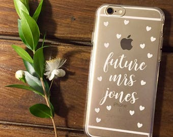 engagement present, hen party gift, bride to be phone case, bridal shower, clear iPhone case, personalised phone case, future Mrs phone case