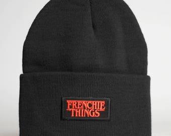 Frenchie Things Beanie - Stranger Things French Bulldog Pug Boston Terrier Bullies Puppy Dog - Black Toque Hat 420 Alienoid Head Warmer Cap