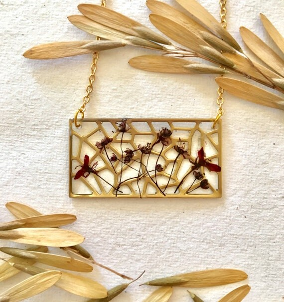 Brass filigree rectangle with Japanese maple flowers and seeds necklace