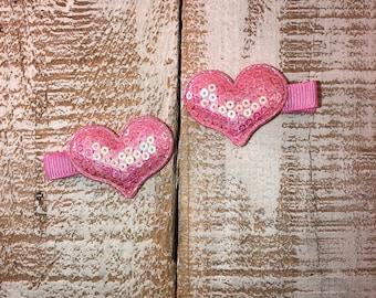 Valentines Day Light Pink Sequin Heart Hair Clip, Piggy Tail Clip Set, Toddler Hair Clip, Girls Valentines Day Hair Clip