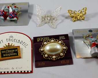 Vintage Jewelry Lot - 1980s Jewelry - New Vintage Pins Earrings - Mary Engelbreit Pin - 1928 Pearl Pin - Butterfly Pins - Mouse Earrings