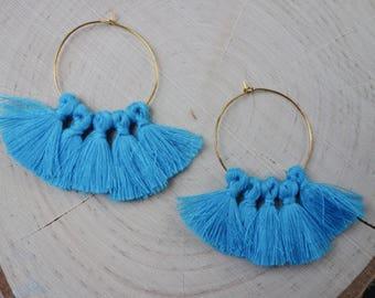 Blue Fan Hoop Earrings