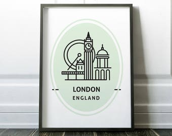 London Print, Travel Poster, London Poster, Wall Art, Travel Print, London Art, Wall Art Print, London, Minimalist London, Travel Wall Art