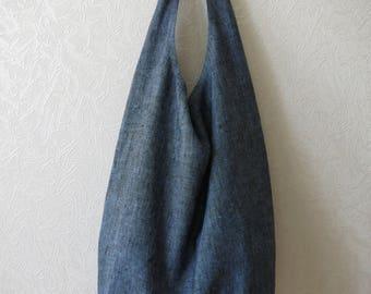Linen Bag - drop, linen  tote bag, burlap shopping bag, blue linen bag, Bag - drop