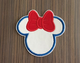 Red White and Blue Minnie Mouse Iron on Applique Patch