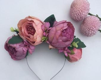 Pink Headband, Boho Flower Crown, Wedding Headband, Pink Peony, Pink and Purple, Hair Accessory, Valentine Crown, Races Fascinator