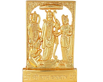 Hashcart Ram Darbar Statue in Gold Plated Metal For Home Temple/Office/ Car
