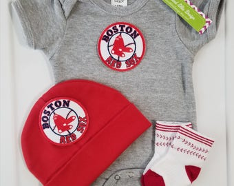 baby boy boston red sox outfit with hat-boston red sox gift for baby-boston red sox baby boy take home outfit -red sox for baby/newborn sox