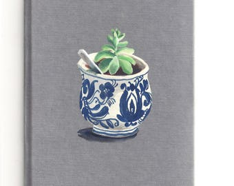 Succulent - Original Gouache Painting on Bookcloth - Original Art