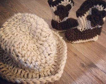 Crochet cowboy boots and hat