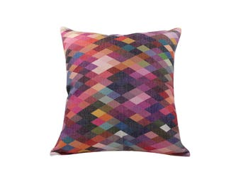 Geometric decorative pillow cover Watercolor throw pillow covers Linen pillow cases Modern cushion cover Home decor gift 18x18