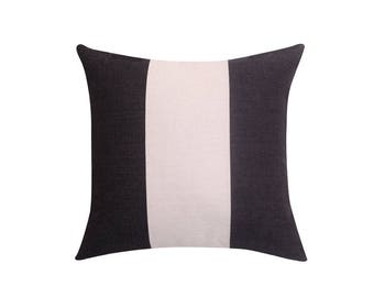 Striped decorative pillow cover Black and white throw pillow covers Linen pillow cases Geometric cushion case Home decor 18x18 20x20 22x22