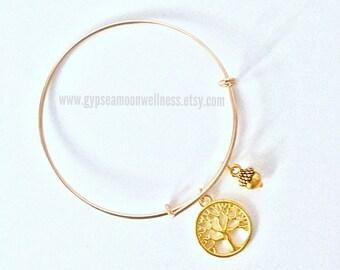 Gold Tone Tree of Life + Acorn Adjustable Charm Bangle Bracelet Lead Free Handcrafted Jewelry Boho Chic Fashion Gypsea Indie Style