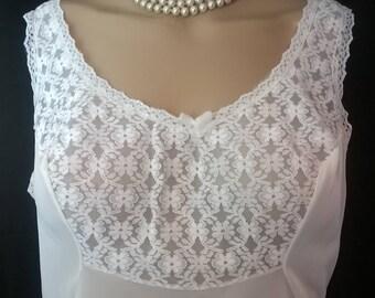 Vintage Lace Slip Dress White Nylon Semi Sheer Full Slip 1980's Vintage Lingerie 80s Lace Nightie Nightgown Size Large