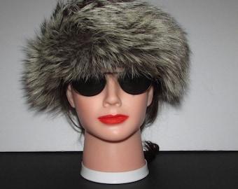 "Superbe bandeau de fourrure de renard  indigo aux longues pointes argentées /Superb fluffy  indigo silver point fox fur headband  22"""